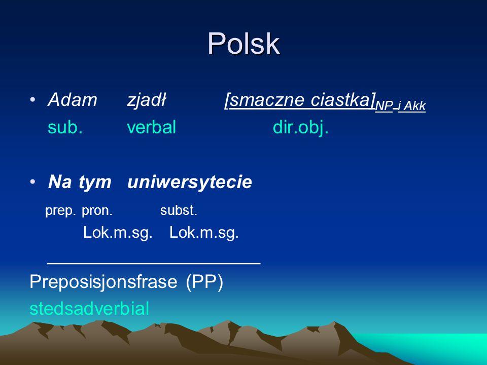 Polsk Adam zjadł [smaczne ciastka]NP i Akk sub. verbal dir.obj.
